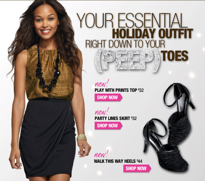 Your essential holiday outfit right down to your (peep) toes