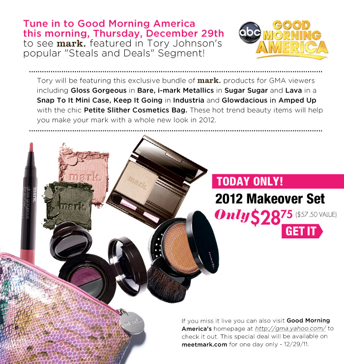 "Tune in to Good Morning America this morning, Thursday, December 29th to see mark. featured in Tory Johnson's popular ""Deals and Steals"" Segment!"