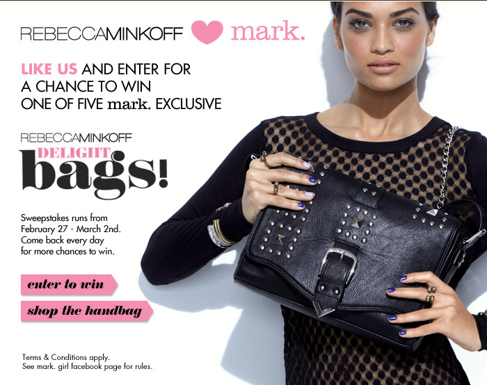 Rebecca Minkoff hearts mark. Like us and enter for a chance to win one of five mark. exclusive Rebecca Minkoff delight bags!
