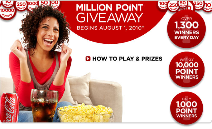 Million Point Giveaway Begins August 1, 2010, Over 1,300 WINNERS EVERY DAY, WEEKLY 10,000 POINT WINNERS, DAILY 1,000 POINT WINNERS