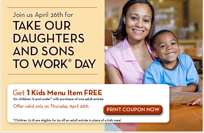 Join us April 26th for Take Our Daughters and Sons to Work Day
