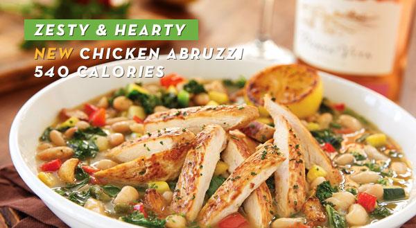 Zesty & hearty, new Chicken Abruzzi - 540 calories