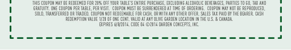 This coupon may be redeemed for 20% off your table's entire purchase, excluding alcoholic beverages, Parties To Go, tax and gratuity. Restrictions apply.