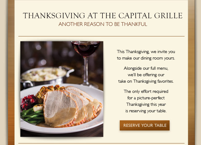Thanksgiving At The Capital Grille