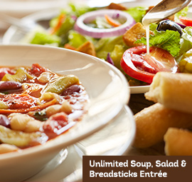 Unlimited Soup, Salad & Breadsticks Entrée
